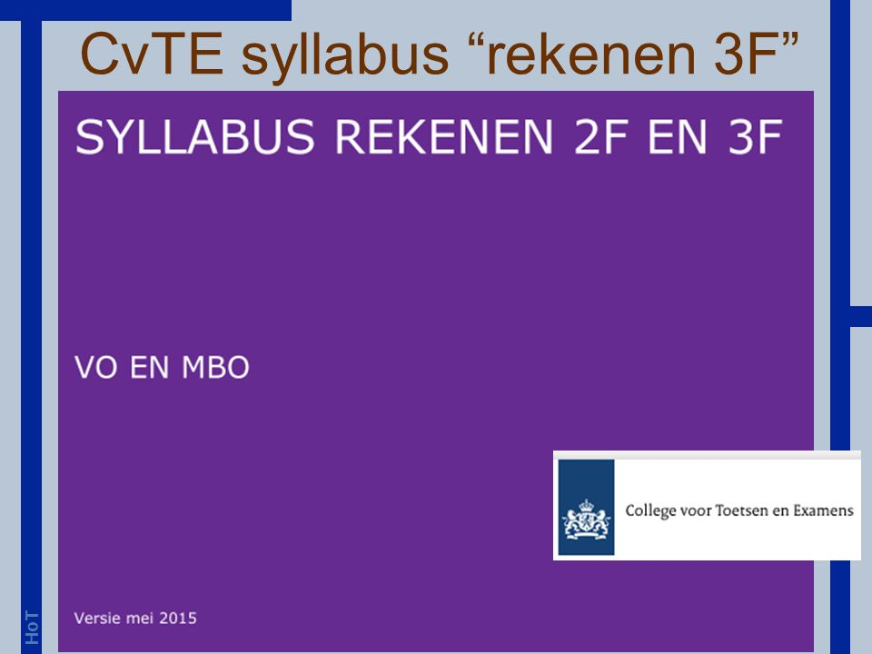 HoT CvTE syllabus rekenen 3F