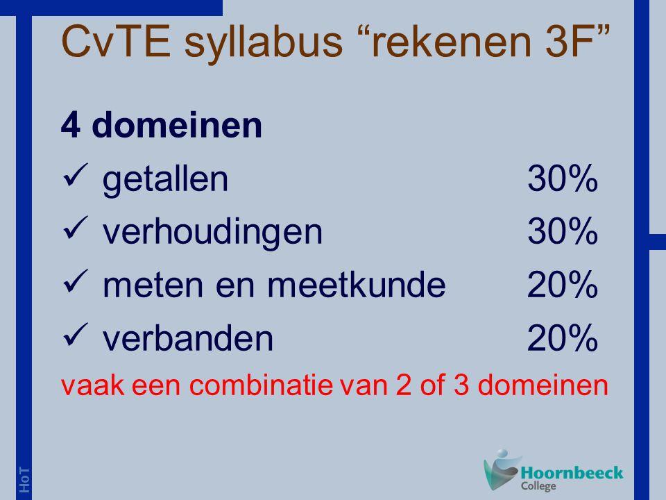 HoT 4 domeinen getallen30% verhoudingen30% meten en meetkunde20% verbanden20% vaak een combinatie van 2 of 3 domeinen CvTE syllabus rekenen 3F