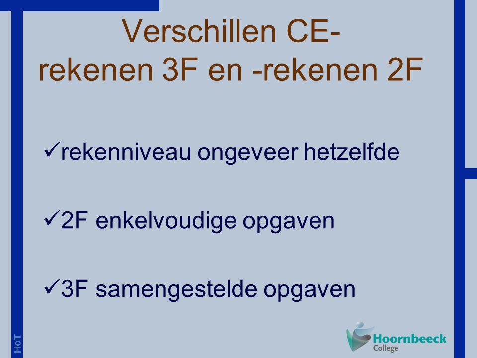 HoT Verschillen CE- rekenen 3F en -rekenen 2F rekenniveau ongeveer hetzelfde 2F enkelvoudige opgaven 3F samengestelde opgaven