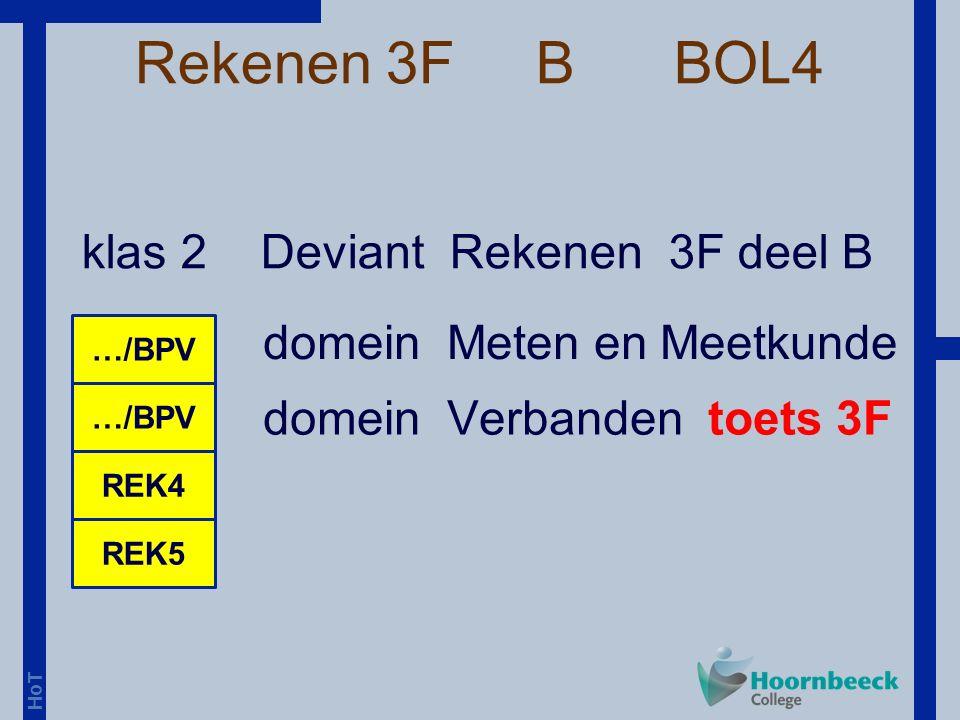 HoT Rekenen 3F B BOL4 klas 2 Deviant Rekenen 3F deel B …/BPV REK5 REK4 domein Meten en Meetkunde domein Verbanden toets 3F