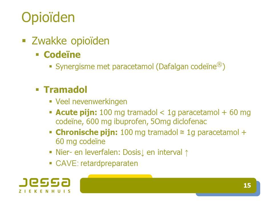 15 Opioïden  Zwakke opioïden  Codeïne  Synergisme met paracetamol (Dafalgan codeïne ® )  Tramadol  Veel nevenwerkingen  Acute pijn: 100 mg tramadol < 1g paracetamol + 60 mg codeïne, 600 mg ibuprofen, 5Omg diclofenac  Chronische pijn: 100 mg tramadol ≅ 1g paracetamol + 60 mg codeïne  Nier- en leverfalen: Dosis ↓ en interval ↑  CAVE: retardpreparaten
