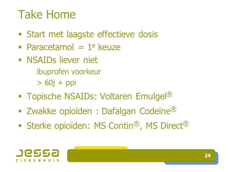 24 Take Home  Start met laagste effectieve dosis  Paracetamol = 1 e keuze  NSAIDs liever niet ibuprofen voorkeur > 60j + ppi  Topische NSAIDs: Voltaren Emulgel ®  Zwakke opioïden : Dafalgan Codeïne ®  Sterke opioïden: MS Contin ®, MS Direct ®