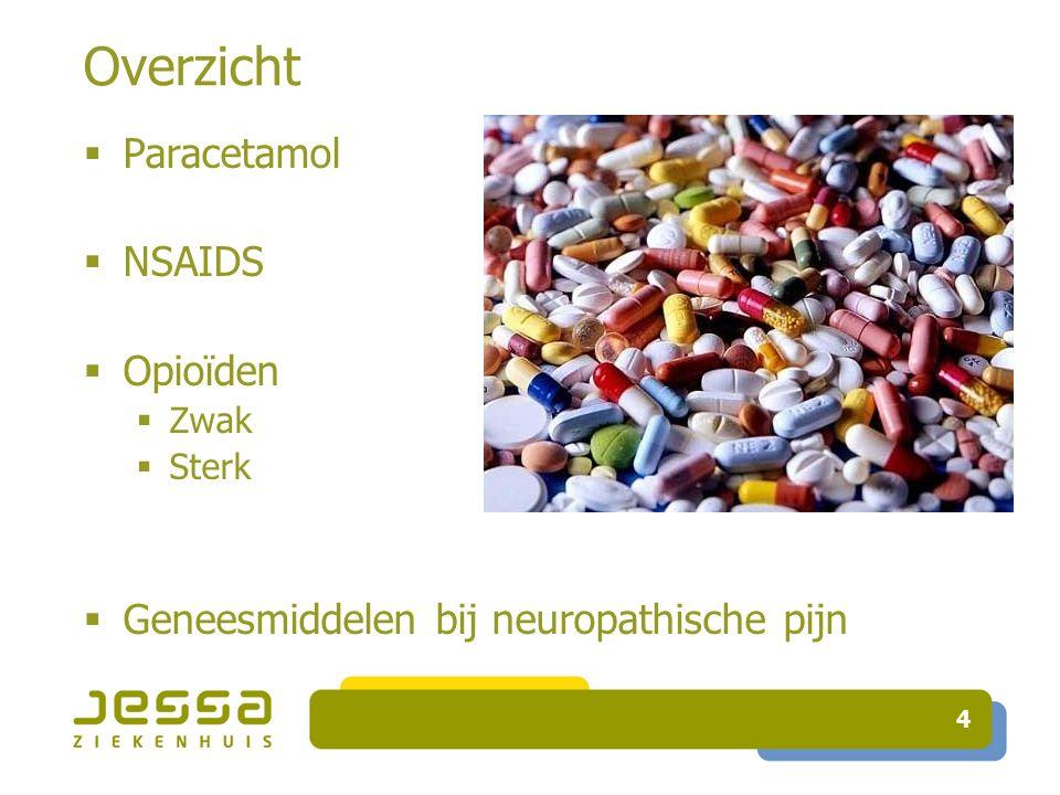 5 PARACETAMOL  Niet anti – inflammatoir  Veilig(er)  Nevenwerkingen  LEVER  > 4 g / dag CAVE > 10 g / dag mort.