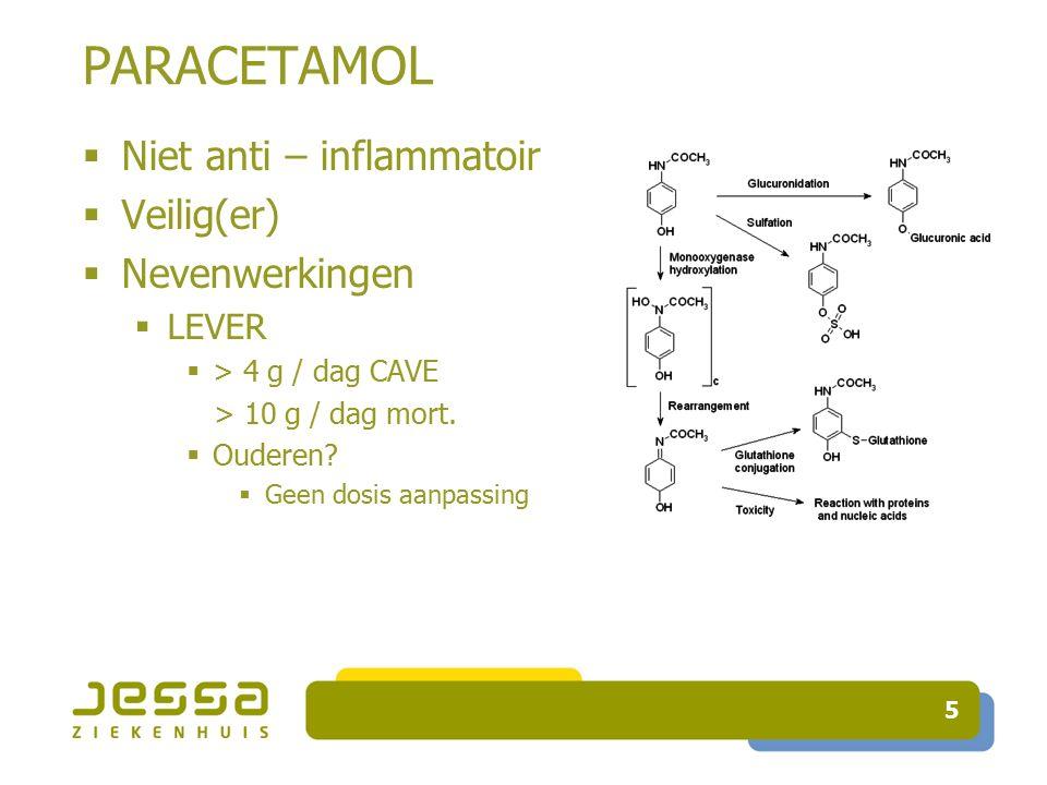 16 Zwakke opioïden  CYP 2D6  Codeïne en tramadol = substraten CYP2D6  Omzetting in actieve metaboliet (prodrugs)  Inhibitor CYP2D6 (  + inducer)  Voorkeur.