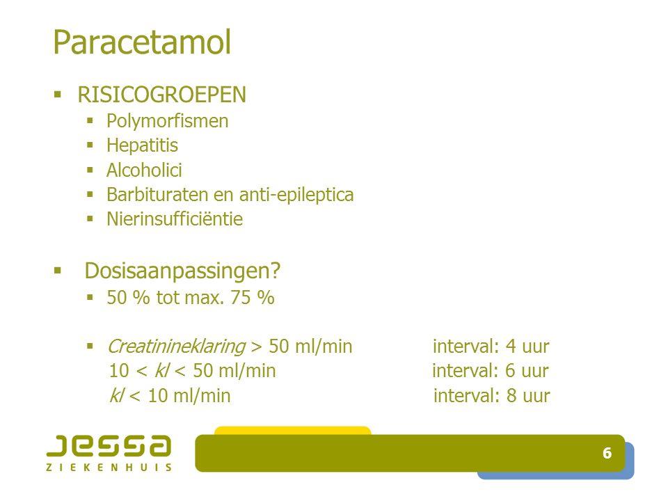6 Paracetamol  RISICOGROEPEN  Polymorfismen  Hepatitis  Alcoholici  Barbituraten en anti-epileptica  Nierinsufficiëntie  Dosisaanpassingen.