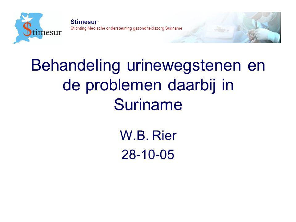 Stimesur Stichting Medische ondersteuning gezondheidszorg Suriname belangrijke conclusies van de workshop 2002 urinewegsteen is kwantitatief het belangrijkste urologische probleem belangrijker dan kanker
