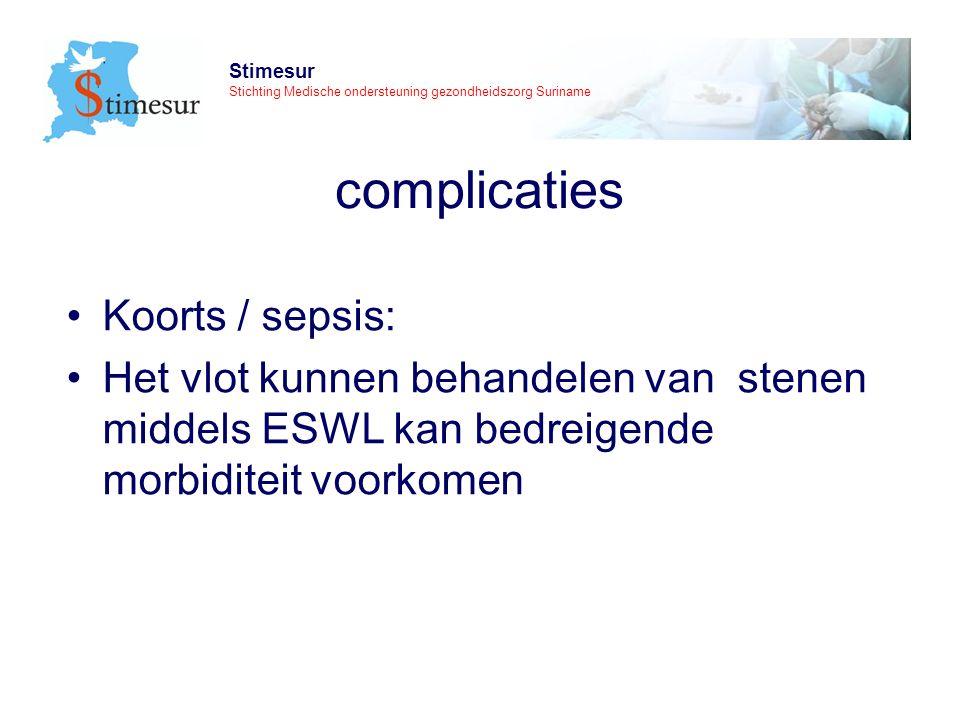 Stimesur Stichting Medische ondersteuning gezondheidszorg Suriname complicaties Koorts / sepsis: Het vlot kunnen behandelen van stenen middels ESWL kan bedreigende morbiditeit voorkomen