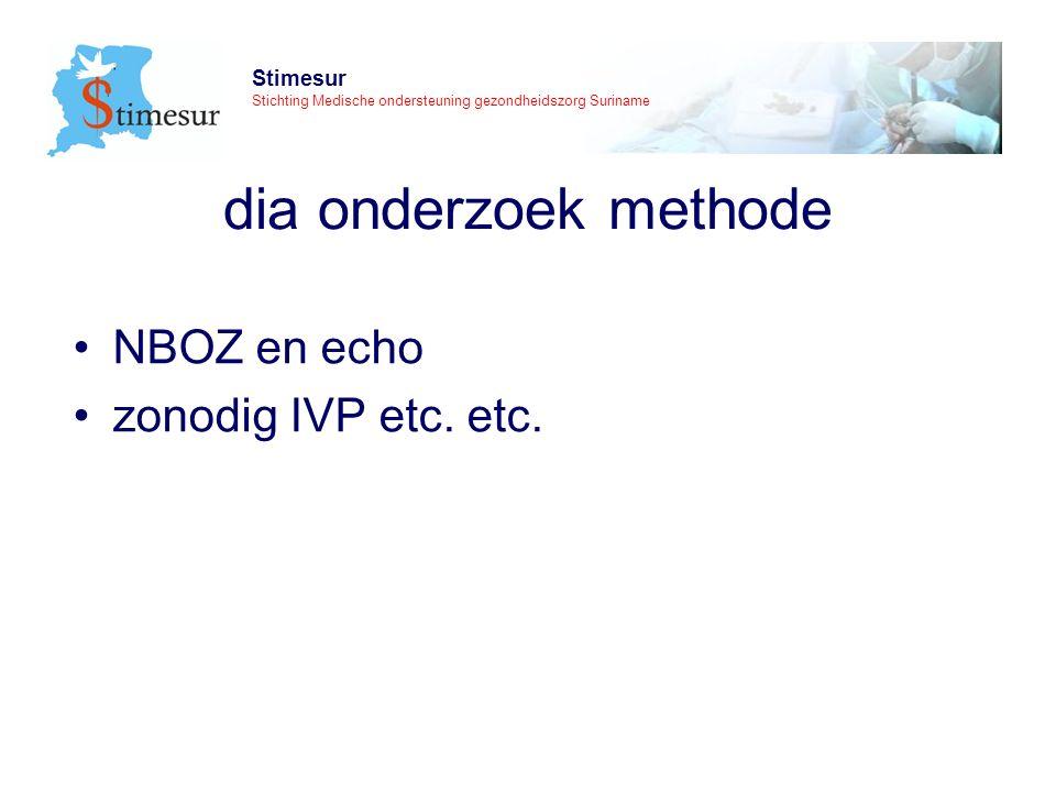 Stimesur Stichting Medische ondersteuning gezondheidszorg Suriname dia onderzoek methode NBOZ en echo zonodig IVP etc.