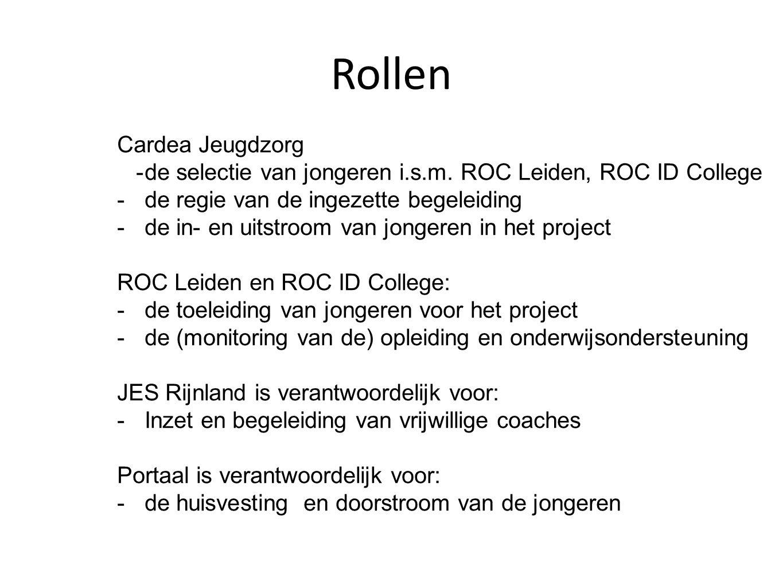 Rollen Cardea Jeugdzorg -de selectie van jongeren i.s.m. ROC Leiden, ROC ID College -de regie van de ingezette begeleiding -de in- en uitstroom van jo