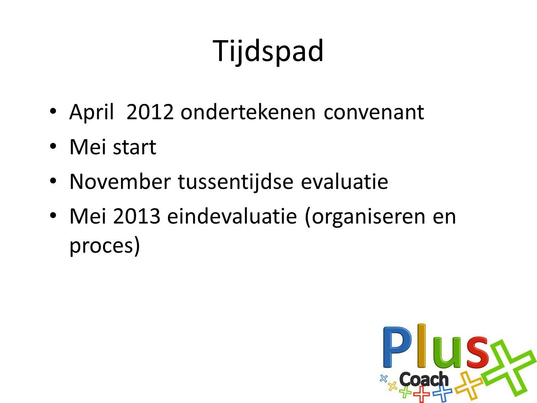 Tijdspad April 2012 ondertekenen convenant Mei start November tussentijdse evaluatie Mei 2013 eindevaluatie (organiseren en proces)