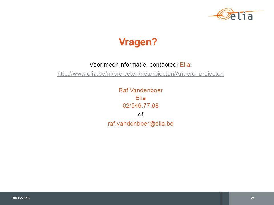 Vragen? Voor meer informatie, contacteer Elia: http://www.elia.be/nl/projecten/netprojecten/Andere_projecten Raf Vandenboer Elia 02/546.77.98 of raf.v