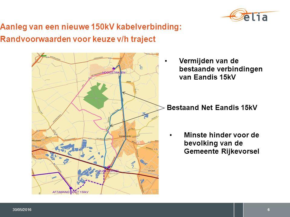 630/05/2016 Aanleg van een nieuwe 150kV kabelverbinding: Randvoorwaarden voor keuze v/h traject Vermijden van de bestaande verbindingen van Eandis 15k