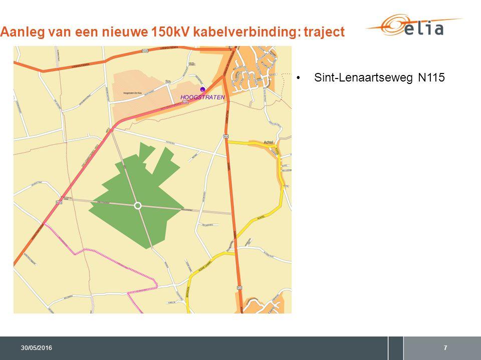 730/05/2016 Aanleg van een nieuwe 150kV kabelverbinding: traject Sint-Lenaartseweg N115