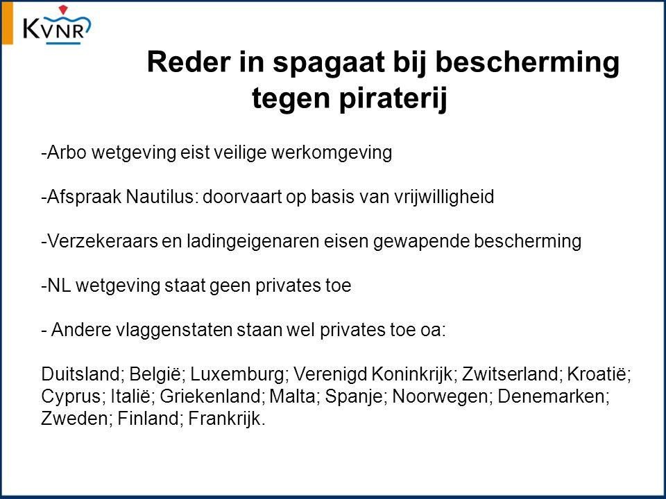 Reder in spagaat bij bescherming tegen piraterij -Arbo wetgeving eist veilige werkomgeving -Afspraak Nautilus: doorvaart op basis van vrijwilligheid -Verzekeraars en ladingeigenaren eisen gewapende bescherming -NL wetgeving staat geen privates toe - Andere vlaggenstaten staan wel privates toe oa: Duitsland; België; Luxemburg; Verenigd Koninkrijk; Zwitserland; Kroatië; Cyprus; Italië; Griekenland; Malta; Spanje; Noorwegen; Denemarken; Zweden; Finland; Frankrijk.