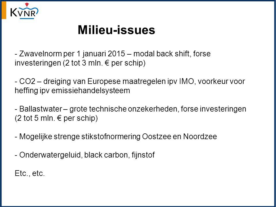- Zwavelnorm per 1 januari 2015 – modal back shift, forse investeringen (2 tot 3 mln.
