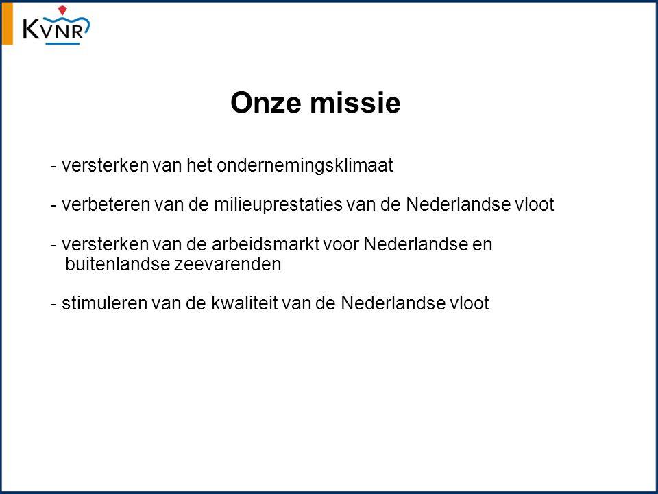 Feiten en cijfers - 400 reders actief - 100 geassocieerde leden - 1.047 schepen onder Nederlandse vlag - 29.370 mensen op kantoor/aan boord - alle Nederlandse zeevarenden na carrière aan boord een baan in maritieme cluster - totale toegevoegde waarde zeevaartsector bedroeg in 2012 € 1,06 miljard.
