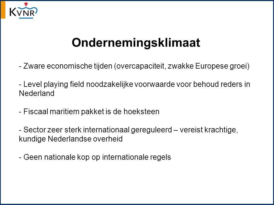 Ondernemingsklimaat - Zware economische tijden (overcapaciteit, zwakke Europese groei) - Level playing field noodzakelijke voorwaarde voor behoud reders in Nederland - Fiscaal maritiem pakket is de hoeksteen - Sector zeer sterk internationaal gereguleerd – vereist krachtige, kundige Nederlandse overheid - Geen nationale kop op internationale regels