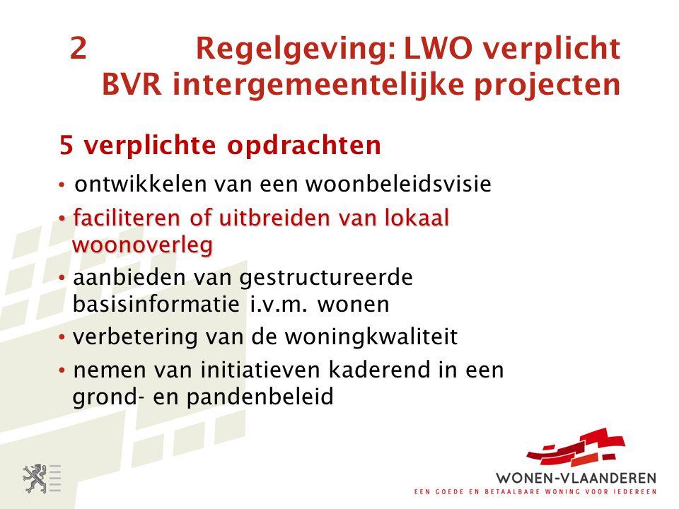 2 Regelgeving: LWO verplicht BVR intergemeentelijke projecten 5 verplichte opdrachten ontwikkelen van een woonbeleidsvisie faciliteren of uitbreiden van lokaal woonoverleg faciliteren of uitbreiden van lokaal woonoverleg aanbieden van gestructureerde basisinformatie i.v.m.