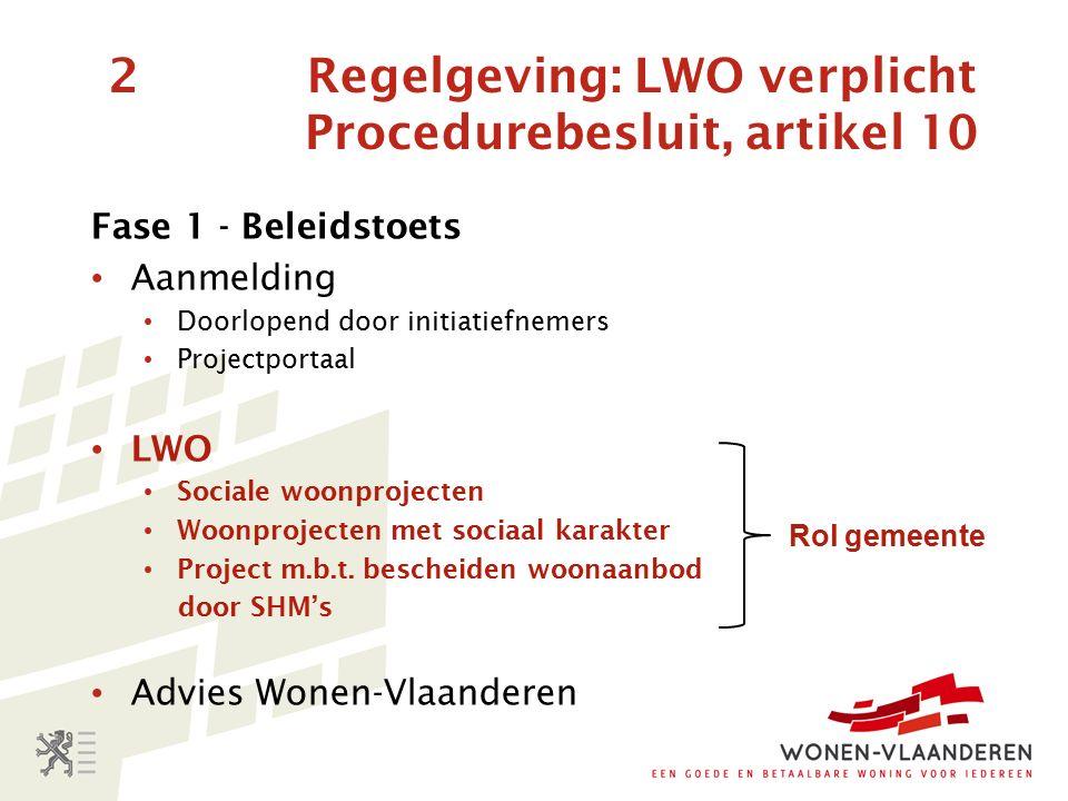 2 Regelgeving: LWO verplicht Procedurebesluit, artikel 10 Fase 1 - Beleidstoets Aanmelding Doorlopend door initiatiefnemers Projectportaal LWO Sociale woonprojecten Woonprojecten met sociaal karakter Project m.b.t.