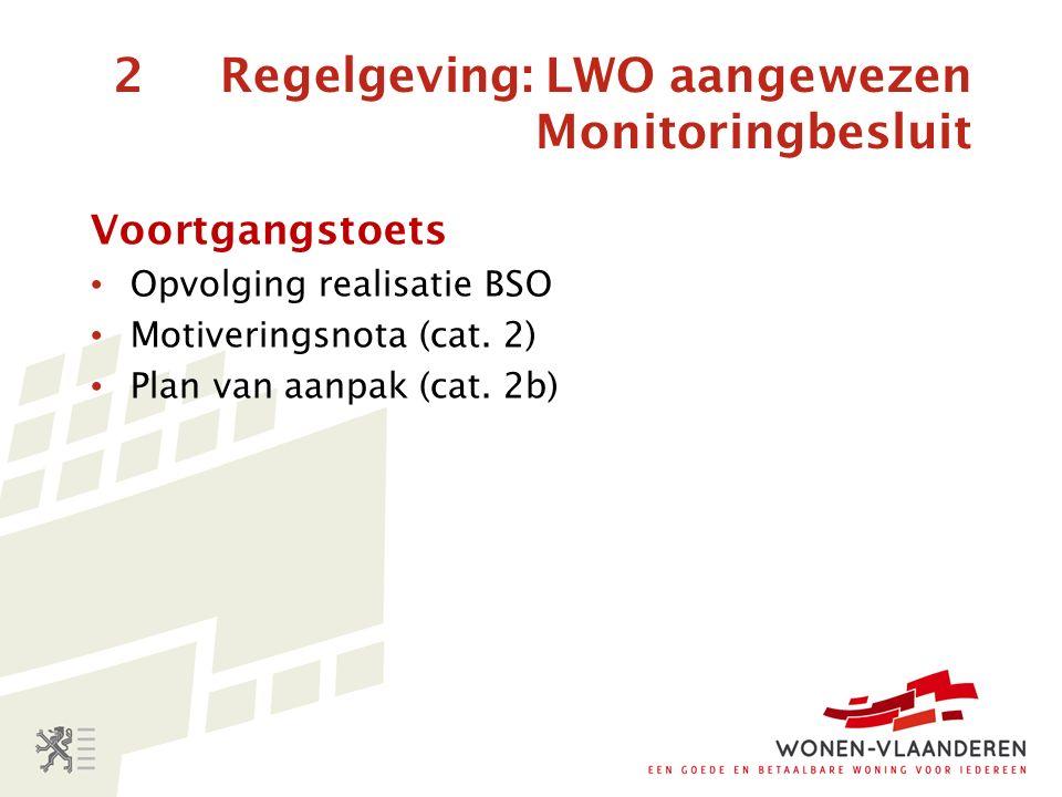 2 Regelgeving: LWO aangewezen Monitoringbesluit Voortgangstoets Opvolging realisatie BSO Motiveringsnota (cat.