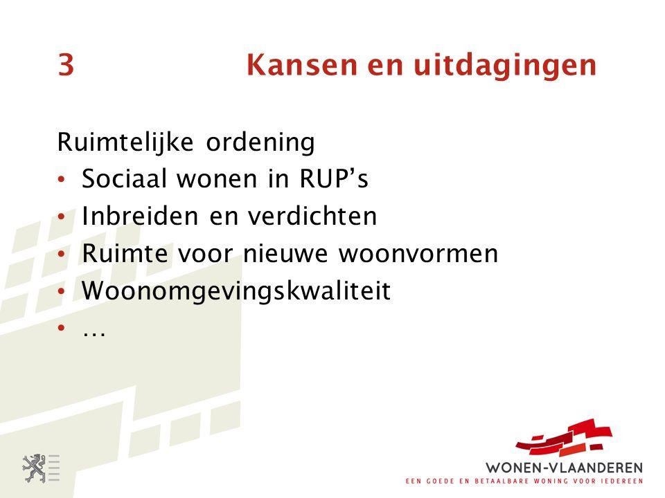 3 Kansen en uitdagingen Ruimtelijke ordening Sociaal wonen in RUP's Inbreiden en verdichten Ruimte voor nieuwe woonvormen Woonomgevingskwaliteit …