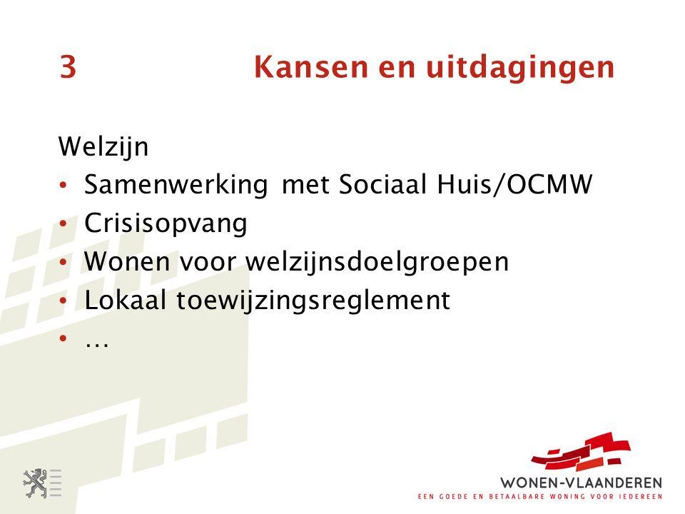 3 Kansen en uitdagingen Welzijn Samenwerking met Sociaal Huis/OCMW Crisisopvang Wonen voor welzijnsdoelgroepen Lokaal toewijzingsreglement …