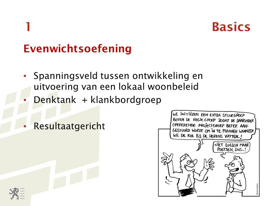 1 Basics Evenwichtsoefening Spanningsveld tussen ontwikkeling en uitvoering van een lokaal woonbeleid Denktank + klankbordgroep Resultaatgericht