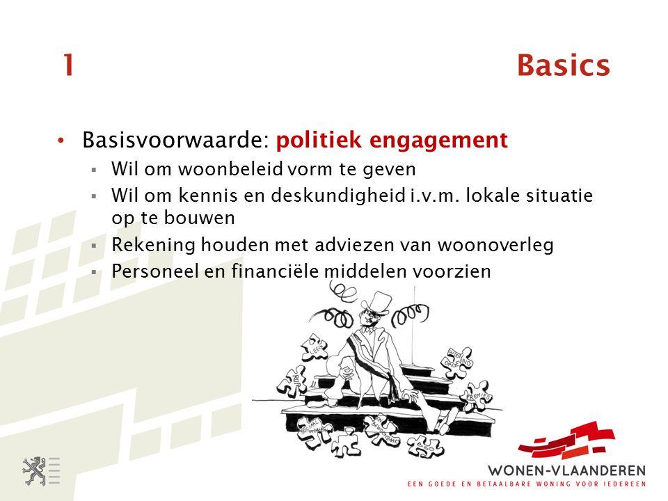 1 Basics Basisvoorwaarde: politiek engagement  Wil om woonbeleid vorm te geven  Wil om kennis en deskundigheid i.v.m.