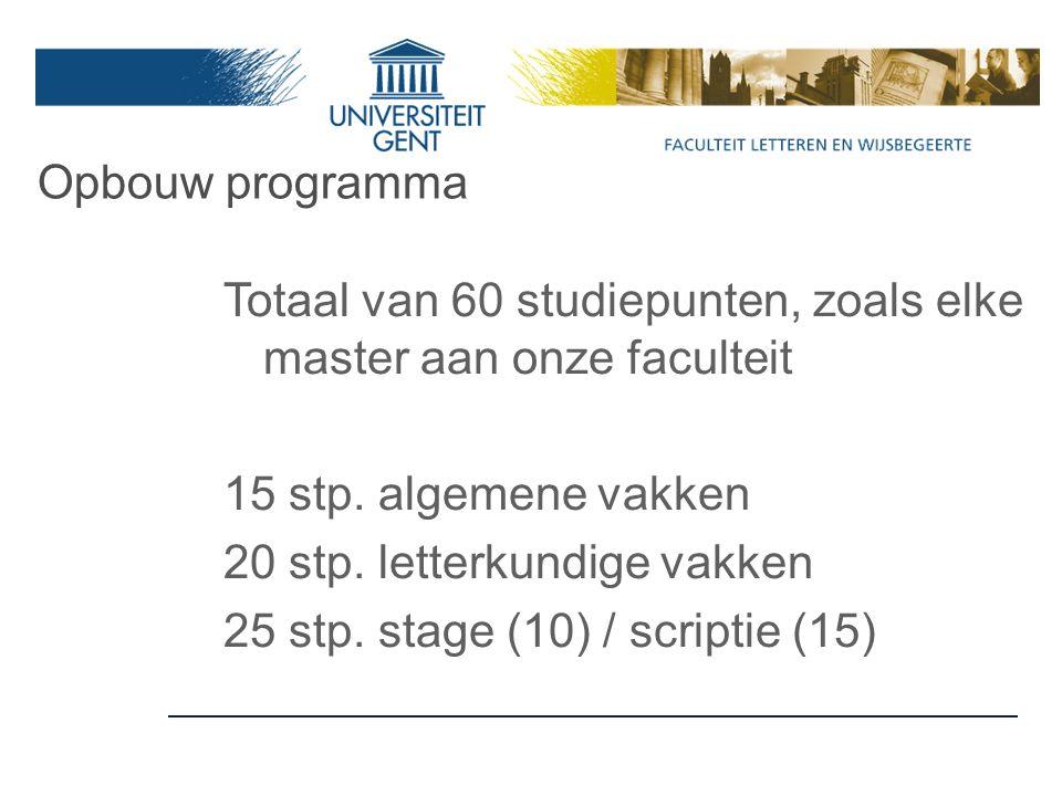 Opbouw programma Totaal van 60 studiepunten, zoals elke master aan onze faculteit 15 stp.