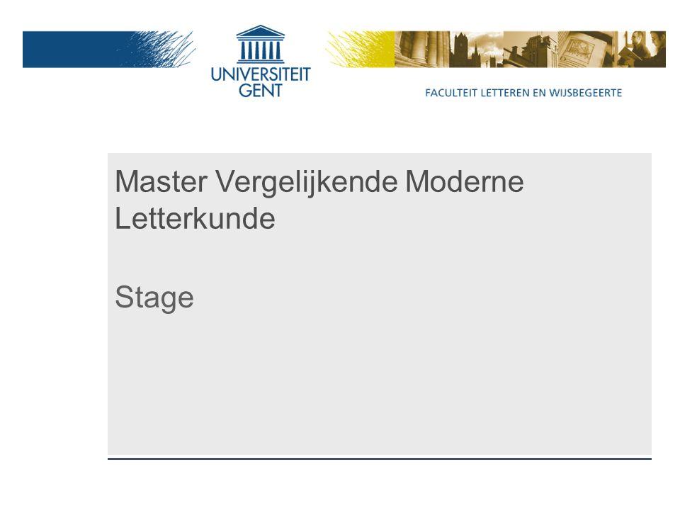 Master Vergelijkende Moderne Letterkunde Stage