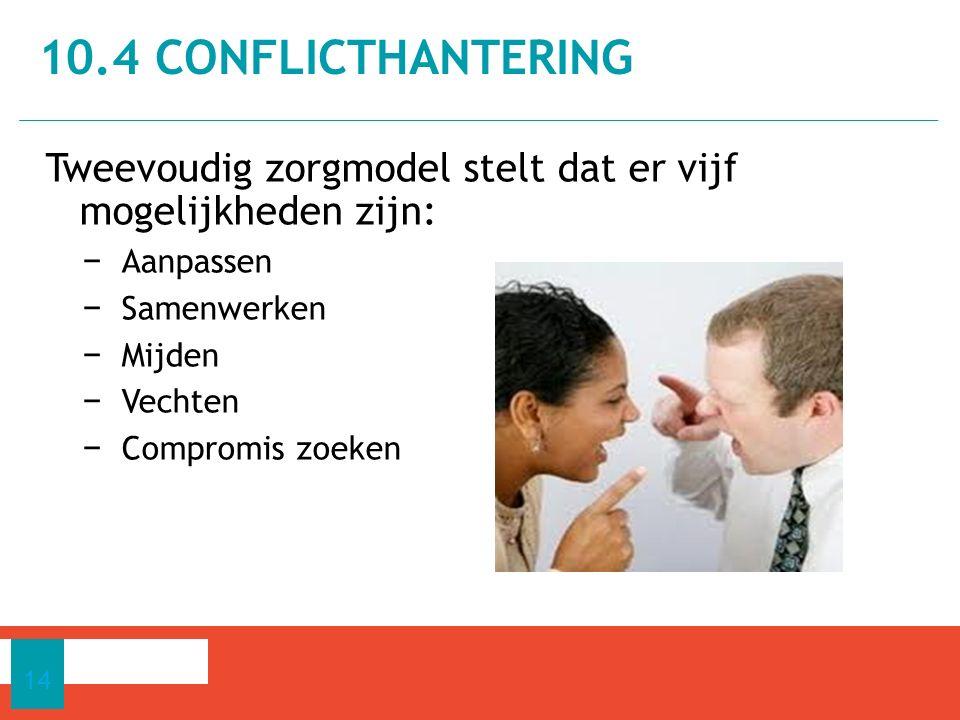Tweevoudig zorgmodel stelt dat er vijf mogelijkheden zijn: − Aanpassen − Samenwerken − Mijden − Vechten − Compromis zoeken 10.4 CONFLICTHANTERING 14