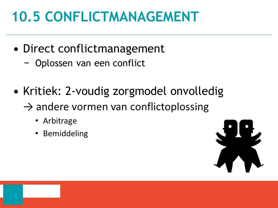 Direct conflictmanagement − Oplossen van een conflict Kritiek: 2-voudig zorgmodel onvolledig → andere vormen van conflictoplossing Arbitrage Bemiddeli