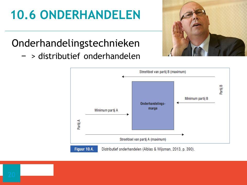 Onderhandelingstechnieken − > distributief onderhandelen 10.6 ONDERHANDELEN 20