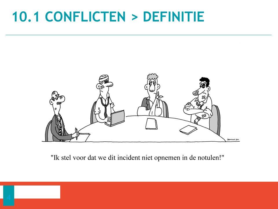 Definitie van een conflict − Een proces dat begint wanneer iemand ervaart dat de eigen meningen doelen, belangen, waarden en normen door iemand anders geschaad zijn of zullen geschaad worden.