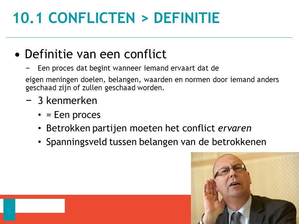 Definitie van een conflict − Een proces dat begint wanneer iemand ervaart dat de eigen meningen doelen, belangen, waarden en normen door iemand anders