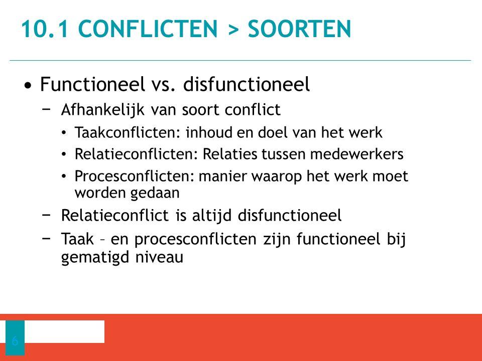 Functioneel vs. disfunctioneel − Afhankelijk van soort conflict Taakconflicten: inhoud en doel van het werk Relatieconflicten: Relaties tussen medewer