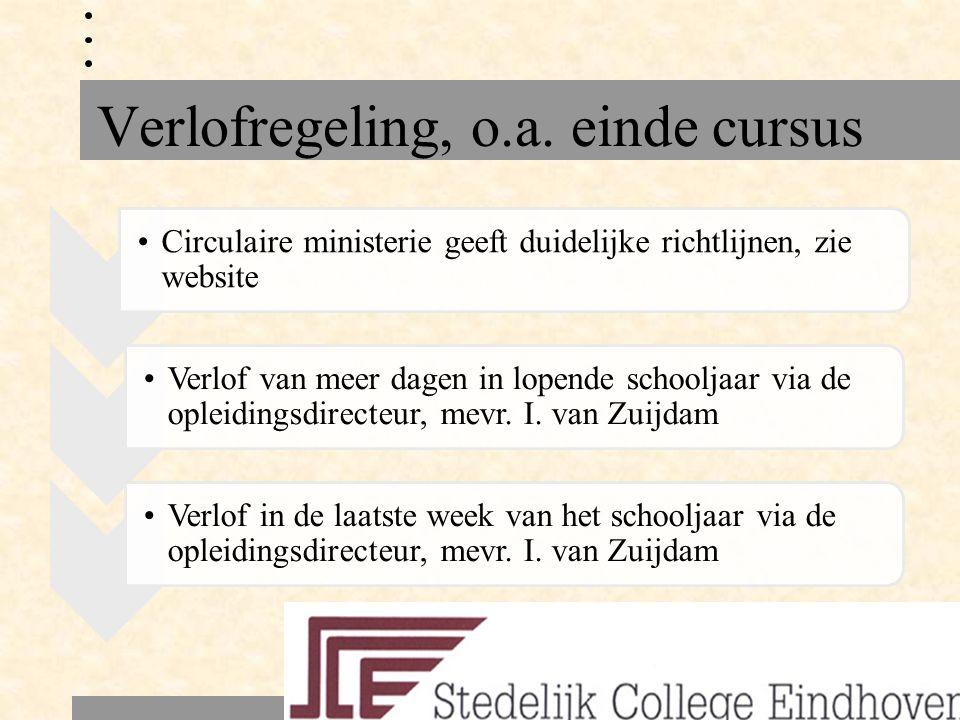 Verlofregeling, o.a. einde cursus Circulaire ministerie geeft duidelijke richtlijnen, zie website Verlof van meer dagen in lopende schooljaar via de o