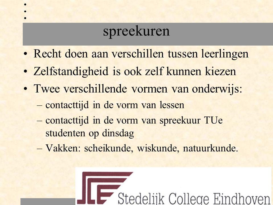 spreekuren Recht doen aan verschillen tussen leerlingen Zelfstandigheid is ook zelf kunnen kiezen Twee verschillende vormen van onderwijs: –contacttij