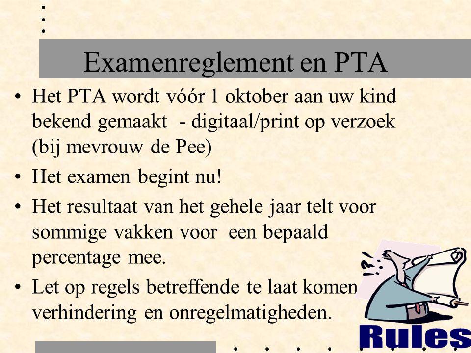 Examenreglement en PTA Het PTA wordt vóór 1 oktober aan uw kind bekend gemaakt - digitaal/print op verzoek (bij mevrouw de Pee) Het examen begint nu.