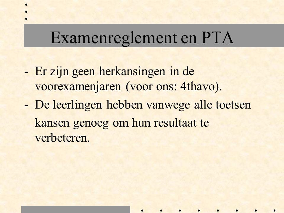 Examenreglement en PTA -Er zijn geen herkansingen in de voorexamenjaren (voor ons: 4thavo). -De leerlingen hebben vanwege alle toetsen kansen genoeg o