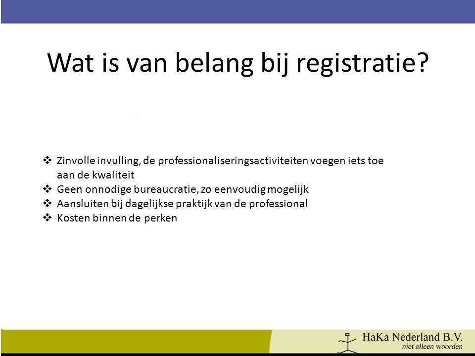 Wat is van belang bij registratie?  Zinvolle invulling, de professionaliseringsactiviteiten voegen iets toe aan de kwaliteit  Geen onnodige bureaucr