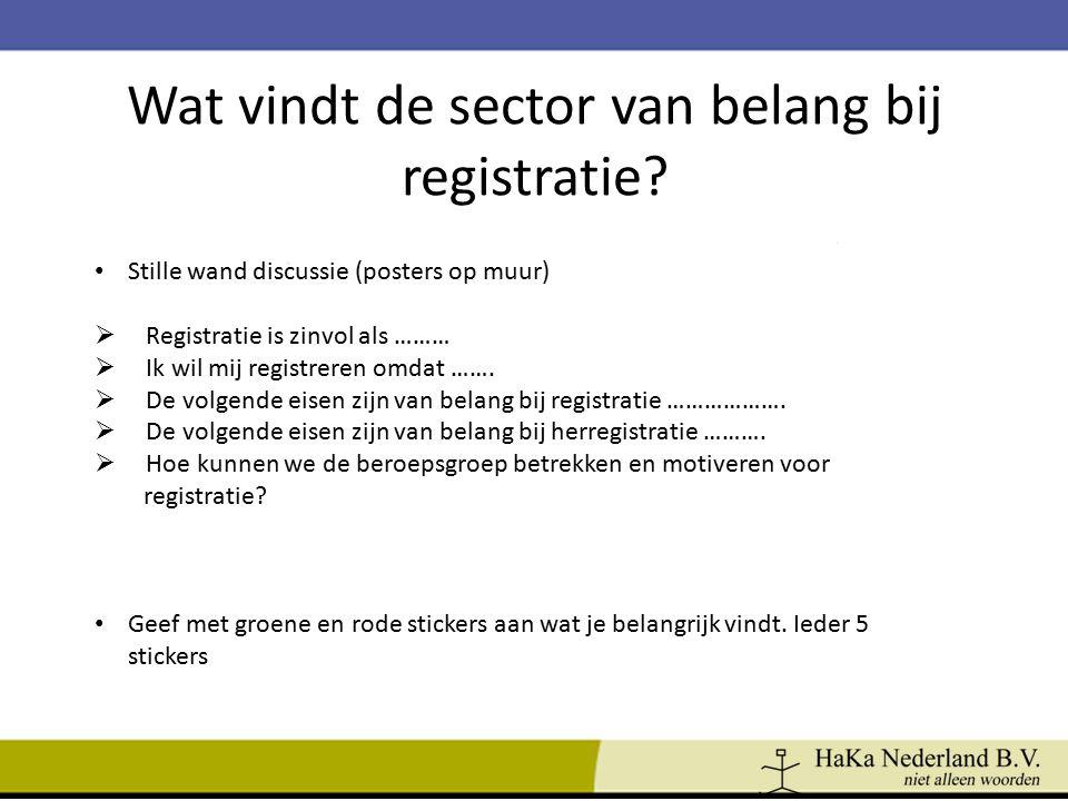 Wat vindt de sector van belang bij registratie? Stille wand discussie (posters op muur)  Registratie is zinvol als ………  Ik wil mij registreren omdat