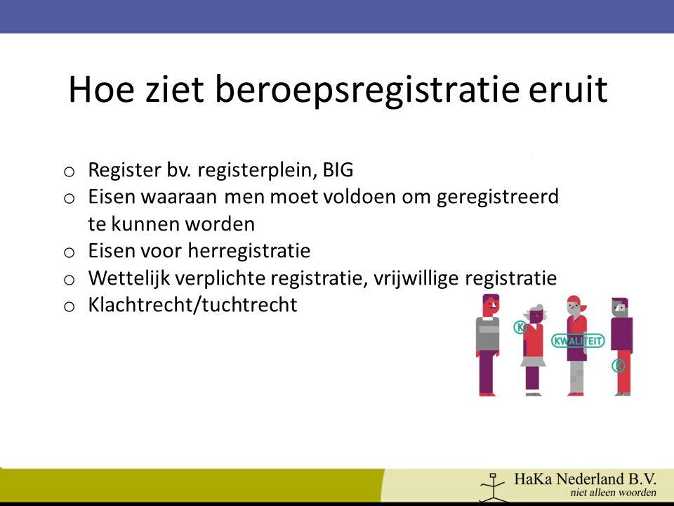 Hoe ziet beroepsregistratie eruit o Register bv. registerplein, BIG o Eisen waaraan men moet voldoen om geregistreerd te kunnen worden o Eisen voor he