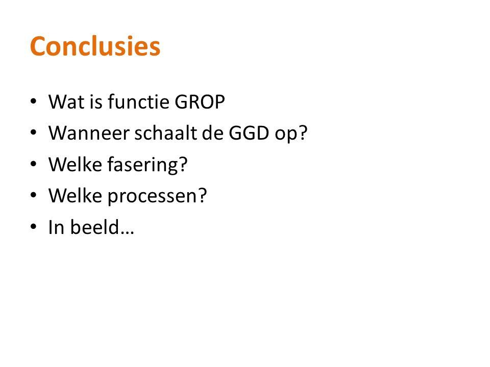 Conclusies Wat is functie GROP Wanneer schaalt de GGD op.