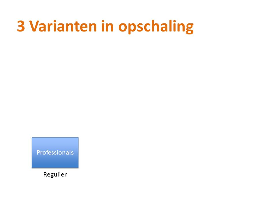 3 Varianten in opschaling Professionals Regulier