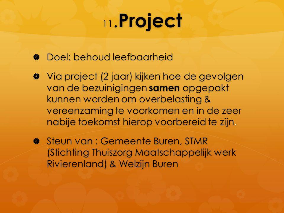11. Project  Doel: behoud leefbaarheid  Via project (2 jaar) kijken hoe de gevolgen van de bezuinigingen samen opgepakt kunnen worden om overbelasti