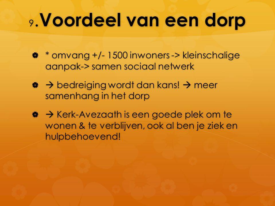 9. Voordeel van een dorp  * omvang +/- 1500 inwoners -> kleinschalige aanpak-> samen sociaal netwerk   bedreiging wordt dan kans!  meer samenhang
