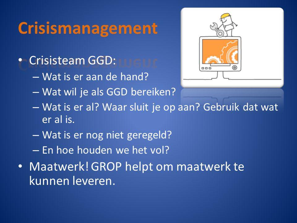 Crisisteam GGD: – Wat is er aan de hand? – Wat wil je als GGD bereiken? – Wat is er al? Waar sluit je op aan? Gebruik dat wat er al is. – Wat is er no