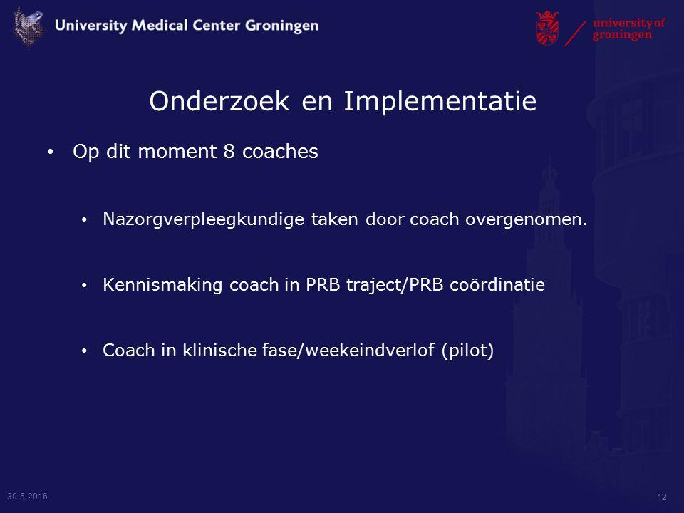Onderzoek en Implementatie Op dit moment 8 coaches Nazorgverpleegkundige taken door coach overgenomen.