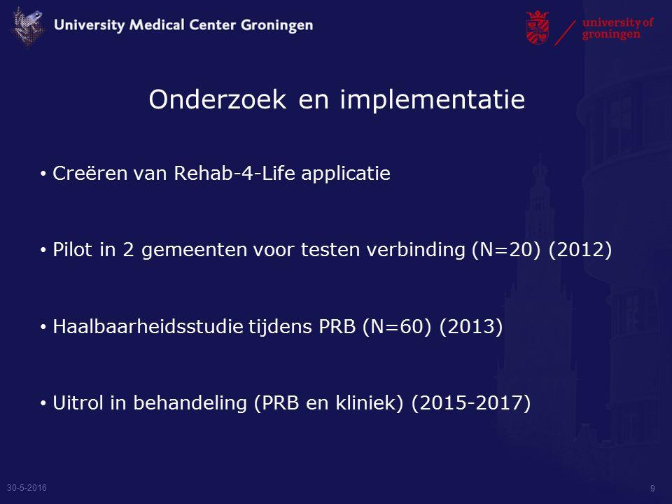 Onderzoek en implementatie Creëren van Rehab-4-Life applicatie Pilot in 2 gemeenten voor testen verbinding (N=20) (2012) Haalbaarheidsstudie tijdens PRB (N=60) (2013) Uitrol in behandeling (PRB en kliniek) (2015-2017) 30-5-2016 9